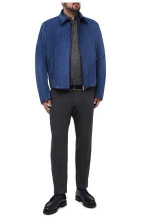 Мужская рубашка из шелка и хлопка ZILLI серого цвета, арт. MFU-00802-66025/0001/45-49 | Фото 2 (Материал внешний: Шелк, Хлопок; Рукава: Длинные; Длина (для топов): Стандартные; Мужское Кросс-КТ: Рубашка-одежда; Случай: Повседневный; Принт: С принтом; Рубашки М: Classic Fit; Стили: Кэжуэл; Big sizes: Big Sizes; Манжеты: На пуговицах; Воротник: Button down)