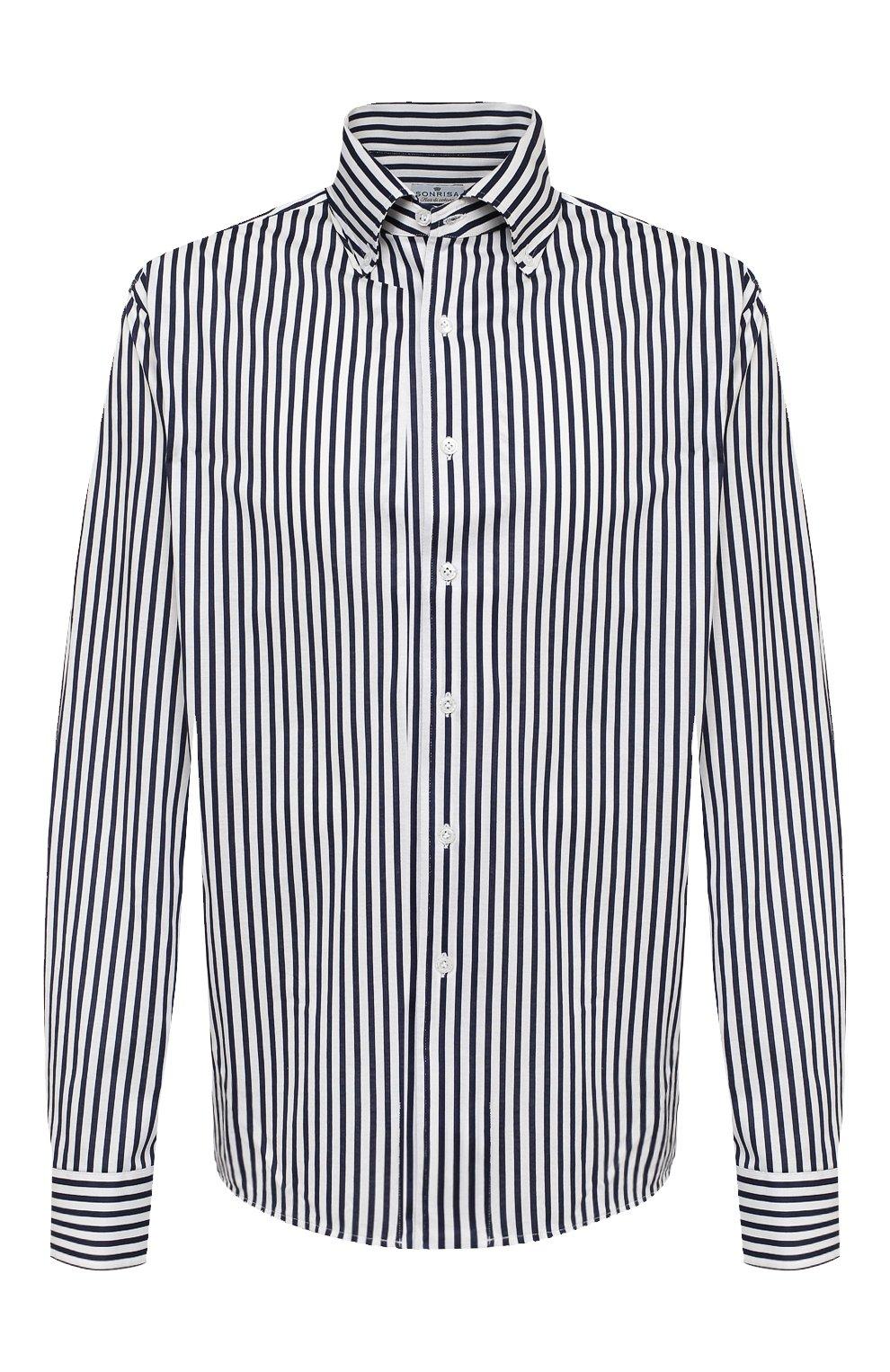 Мужская хлопковая сорочка SONRISA синего цвета, арт. IFJ7167/J824/47-51 | Фото 1 (Big sizes: Big Sizes; Рукава: Длинные; Рубашки М: Regular Fit; Случай: Повседневный; Длина (для топов): Стандартные; Материал внешний: Хлопок; Стили: Кэжуэл)