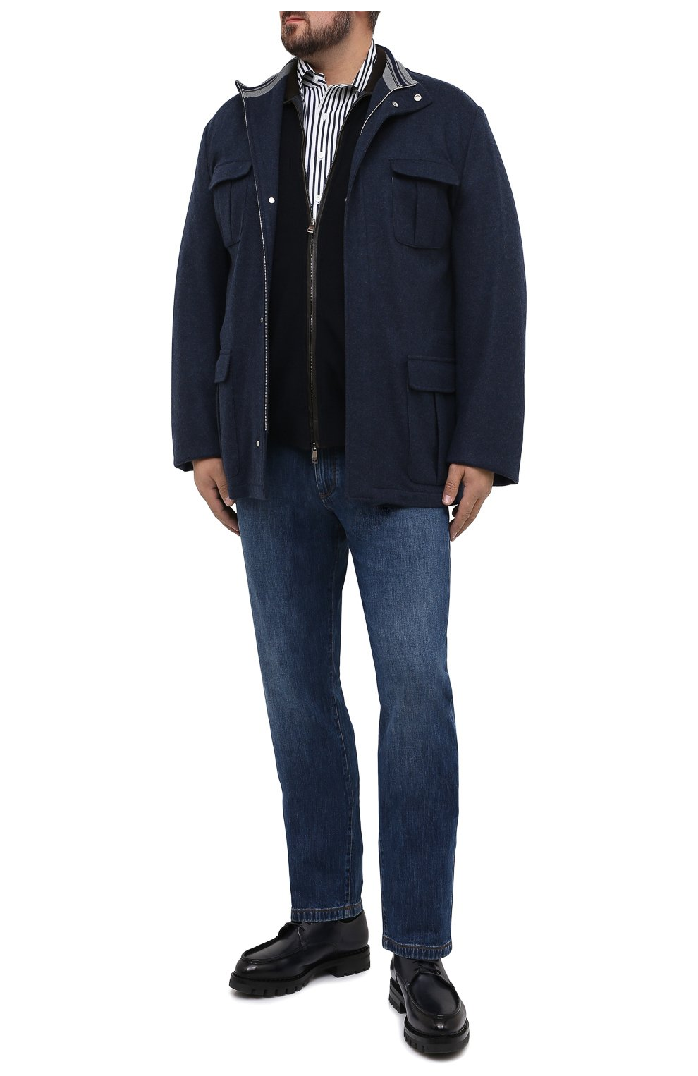 Мужская хлопковая сорочка SONRISA синего цвета, арт. IFJ7167/J824/47-51 | Фото 2 (Big sizes: Big Sizes; Рукава: Длинные; Рубашки М: Regular Fit; Случай: Повседневный; Длина (для топов): Стандартные; Материал внешний: Хлопок; Стили: Кэжуэл)