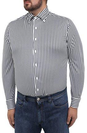 Мужская хлопковая сорочка SONRISA синего цвета, арт. IFJ7167/J824/47-51 | Фото 3 (Big sizes: Big Sizes; Рукава: Длинные; Рубашки М: Regular Fit; Случай: Повседневный; Длина (для топов): Стандартные; Материал внешний: Хлопок; Стили: Кэжуэл)