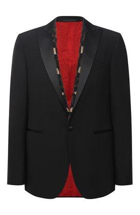 Мужской шерстяной пиджак VERSACE черного цвета, арт. A87331/A232388 | Фото 1 (Рукава: Длинные; Материал подклада: Купро; Материал внешний: Шерсть; Длина (для топов): Стандартные; Пиджаки М: Прямой; 1-2-бортные: Однобортные; Стили: Классический)