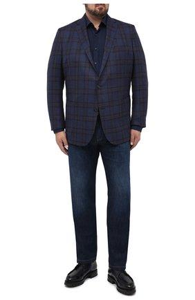 Мужская рубашка из хлопка и кашемира PAUL&SHARK темно-синего цвета, арт. I20P3040CF/FQZ | Фото 2