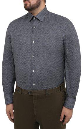 Мужская хлопковая рубашка PAUL&SHARK серого цвета, арт. I20P3088CF/C00/48-50 | Фото 3
