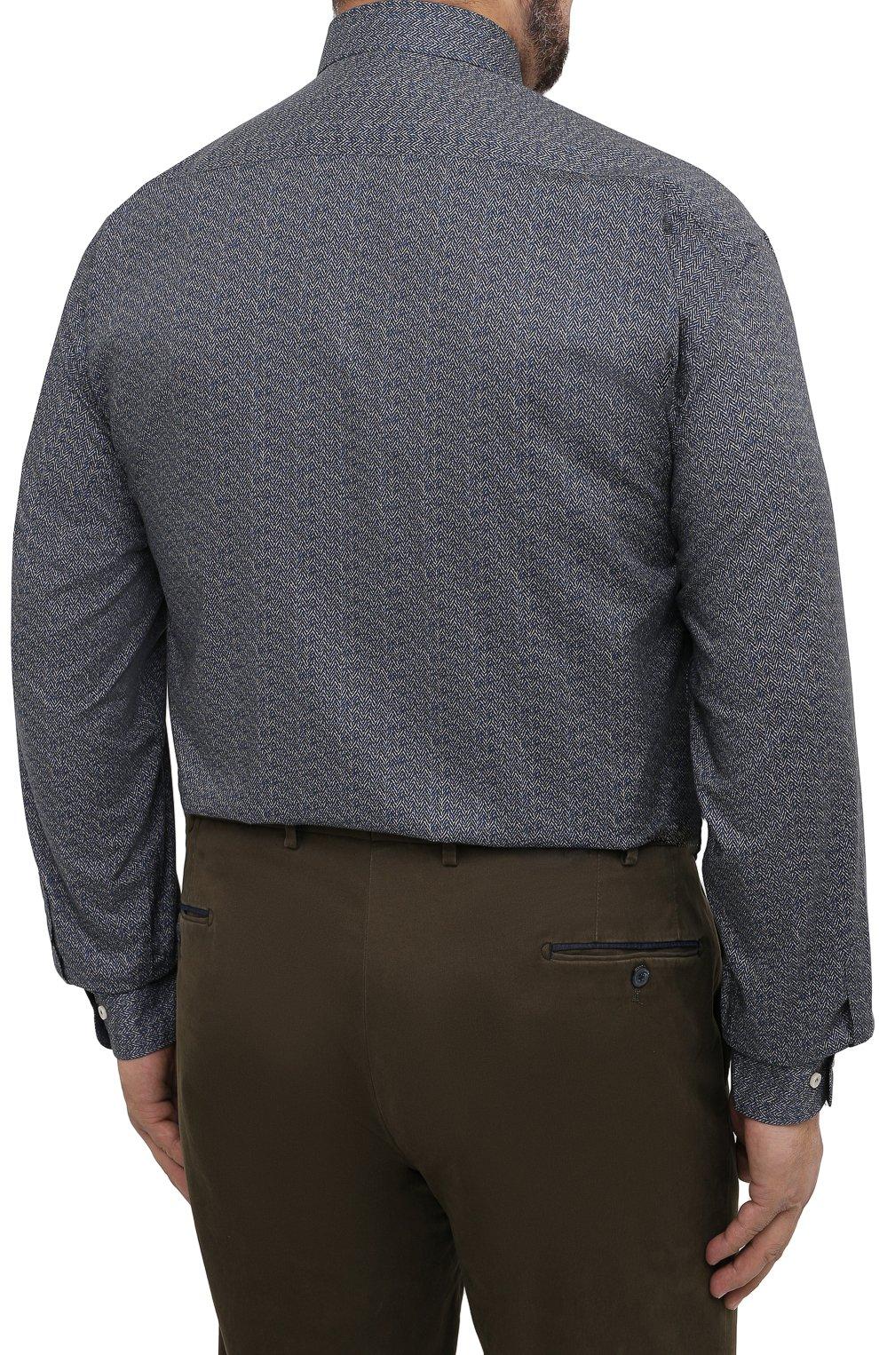Мужская хлопковая рубашка PAUL&SHARK серого цвета, арт. I20P3088CF/C00/48-50 | Фото 4