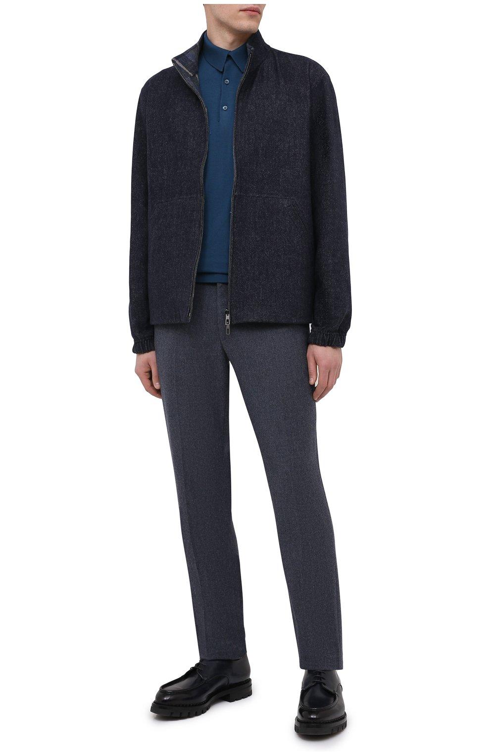 Мужские брюки из шерсти и хлопка RALPH LAUREN синего цвета, арт. 798804746   Фото 2 (Материал внешний: Шерсть; Длина (брюки, джинсы): Стандартные; Случай: Повседневный; Материал подклада: Вискоза; Стили: Кэжуэл)