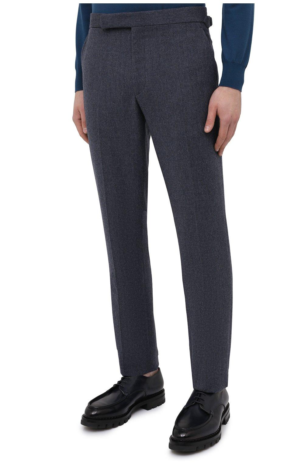 Мужские брюки из шерсти и хлопка RALPH LAUREN синего цвета, арт. 798804746   Фото 3 (Материал внешний: Шерсть; Длина (брюки, джинсы): Стандартные; Случай: Повседневный; Материал подклада: Вискоза; Стили: Кэжуэл)
