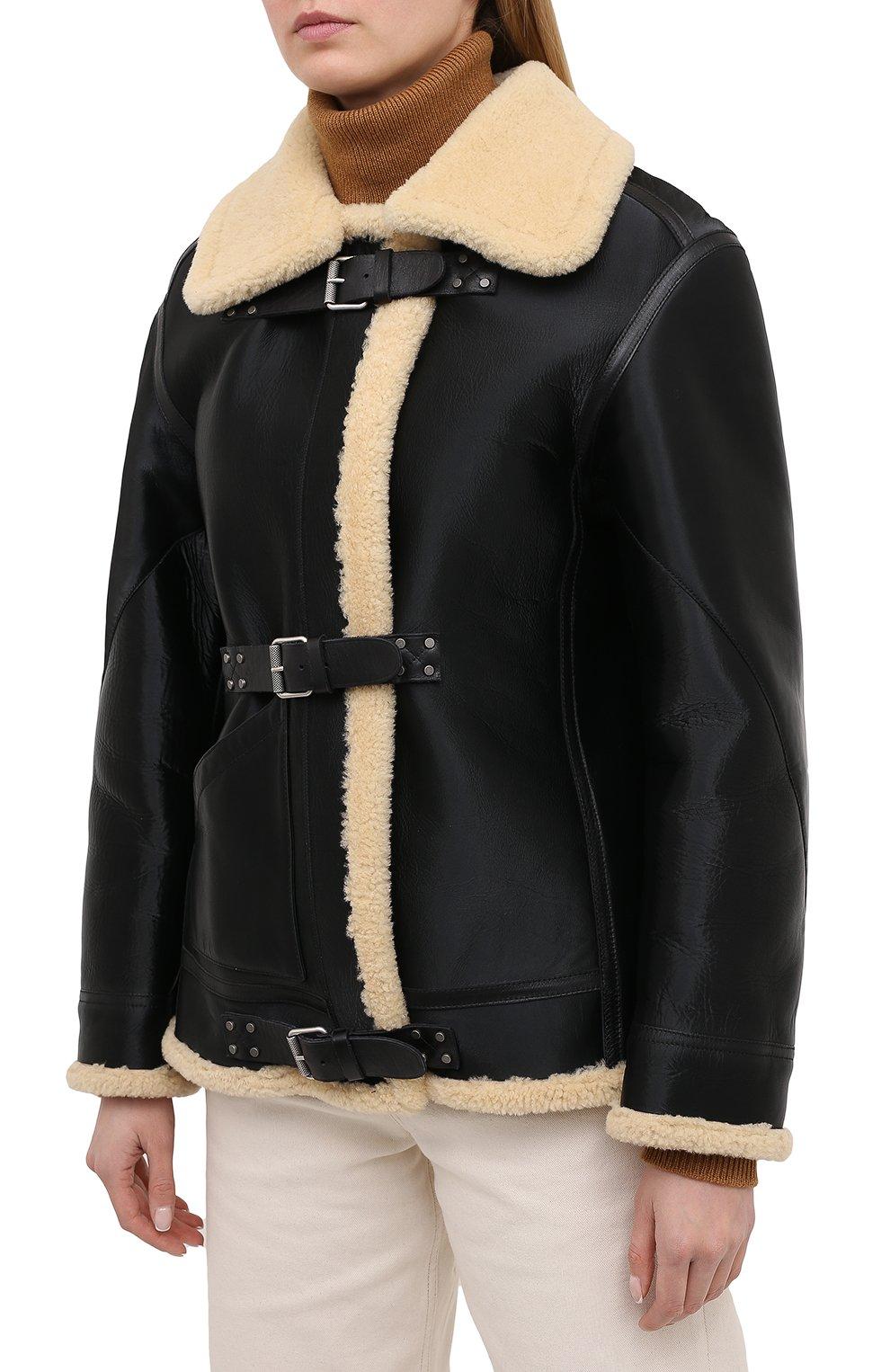 Женская дубленка из овчины RALPH LAUREN черного цвета, арт. 290820362   Фото 3 (Женское Кросс-КТ: Мех; Рукава: Длинные; Материал внешний: Натуральный мех; Длина (верхняя одежда): Короткие; Стили: Кэжуэл)