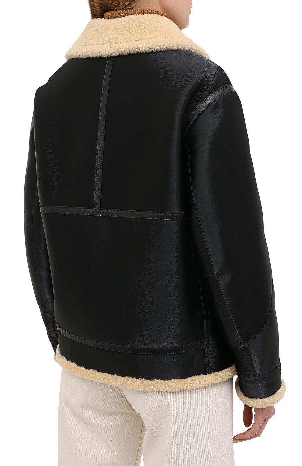 Женская дубленка из овчины RALPH LAUREN черного цвета, арт. 290820362   Фото 4 (Женское Кросс-КТ: Мех; Рукава: Длинные; Материал внешний: Натуральный мех; Длина (верхняя одежда): Короткие; Стили: Кэжуэл)