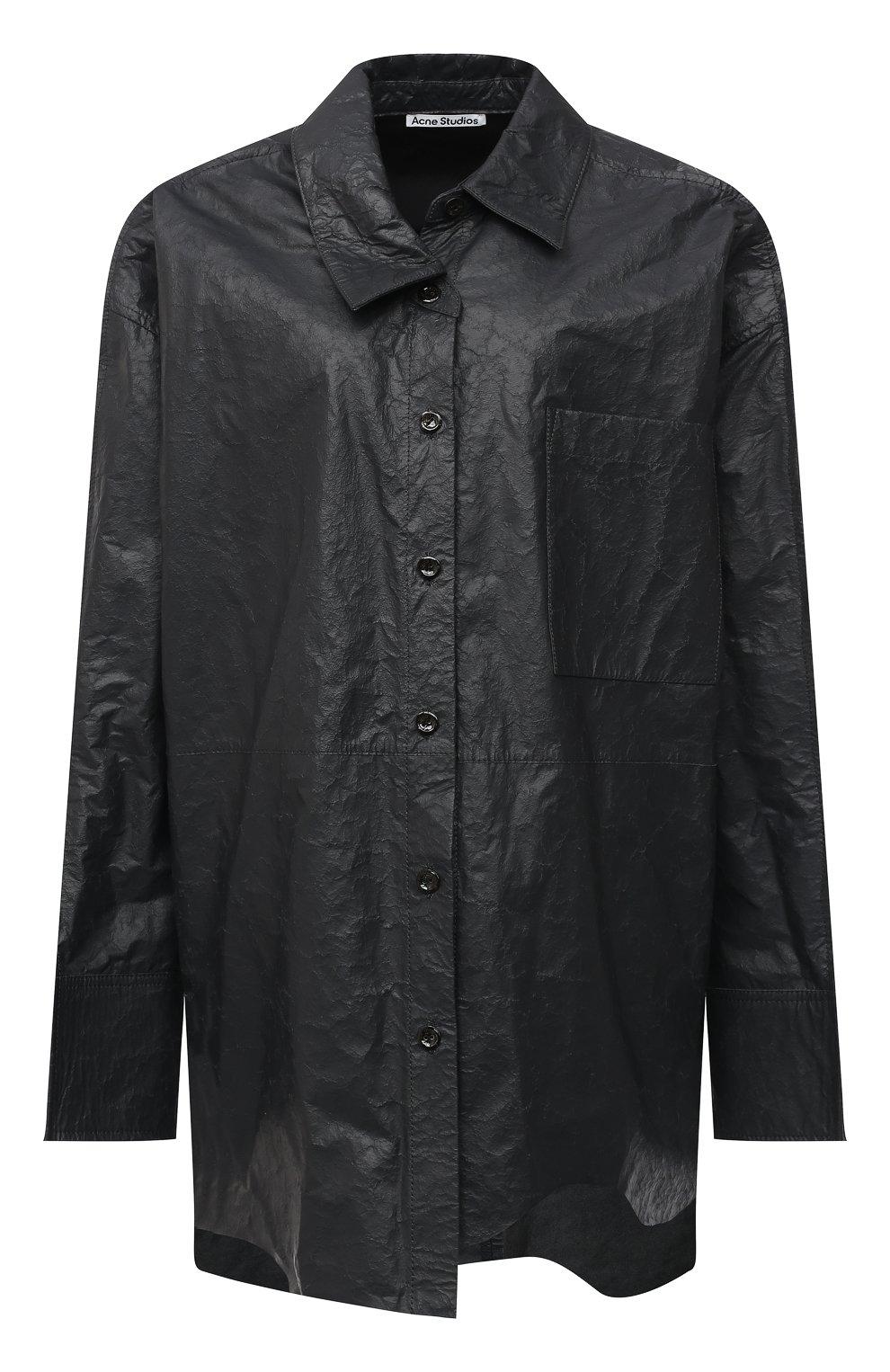 Женская кожаная рубашка ACNE STUDIOS темно-серого цвета, арт. AC0318 | Фото 1