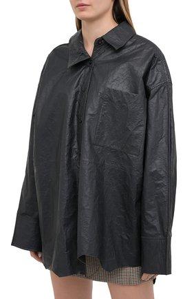 Женская кожаная рубашка ACNE STUDIOS темно-серого цвета, арт. AC0318 | Фото 3