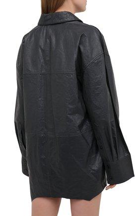 Женская кожаная рубашка ACNE STUDIOS темно-серого цвета, арт. AC0318 | Фото 4