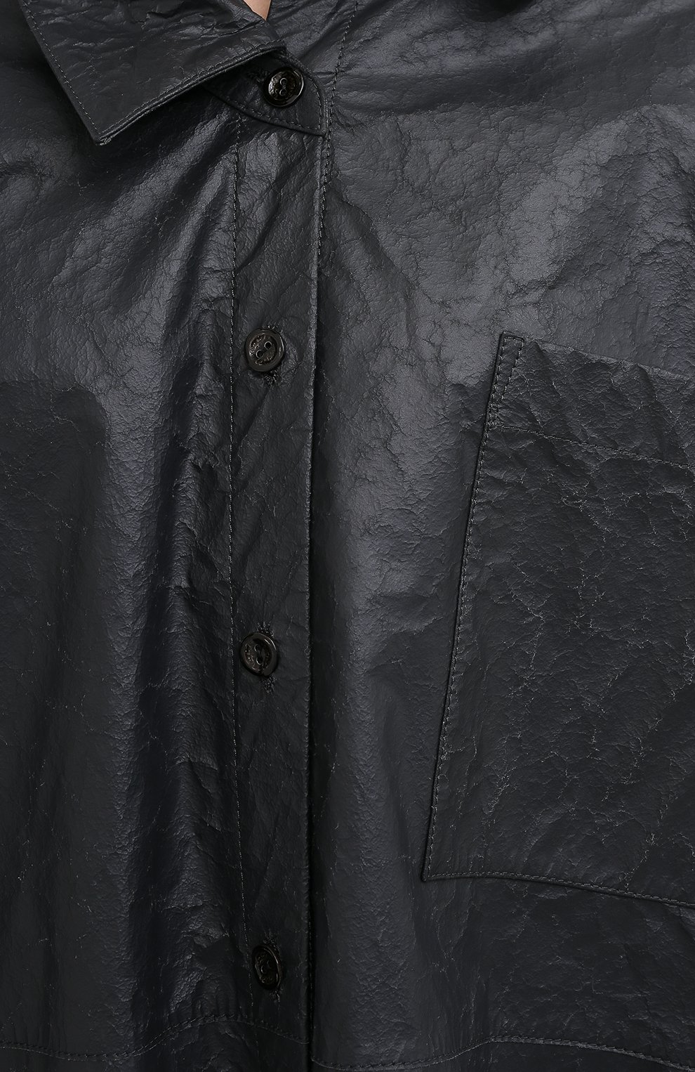 Женская кожаная рубашка ACNE STUDIOS темно-серого цвета, арт. AC0318 | Фото 5