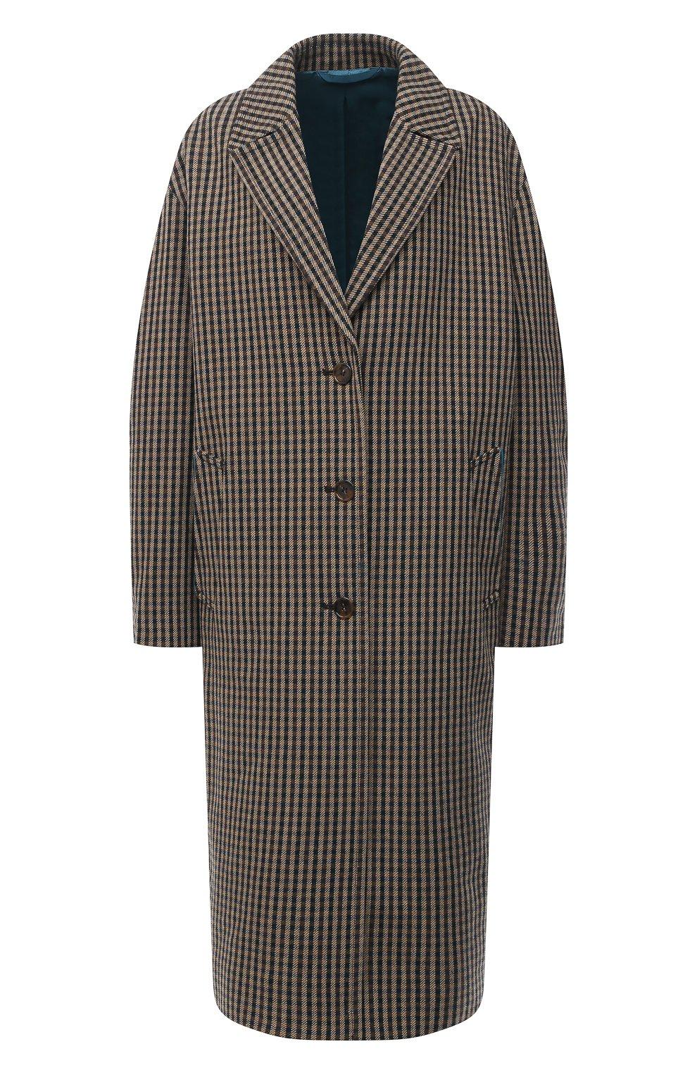 Женское шерстяное пальто ACNE STUDIOS коричневого цвета, арт. A90268   Фото 1 (Материал внешний: Шерсть; Рукава: Длинные; Длина (верхняя одежда): Длинные; 1-2-бортные: Однобортные; Материал подклада: Вискоза; Стили: Кэжуэл)