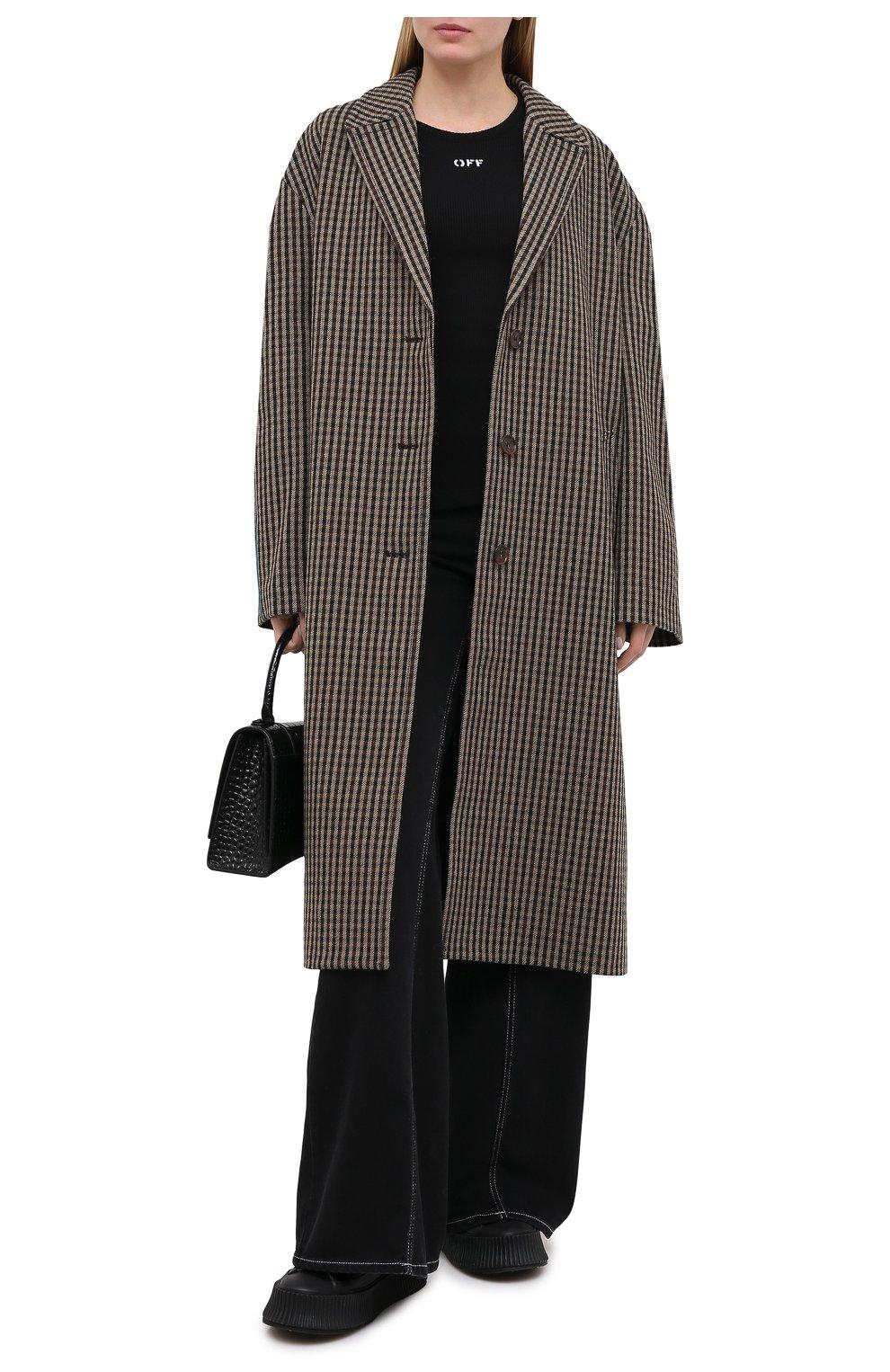 Женское шерстяное пальто ACNE STUDIOS коричневого цвета, арт. A90268   Фото 2 (Материал внешний: Шерсть; Рукава: Длинные; Длина (верхняя одежда): Длинные; 1-2-бортные: Однобортные; Материал подклада: Вискоза; Стили: Кэжуэл)