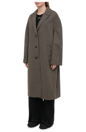 Женское шерстяное пальто ACNE STUDIOS коричневого цвета, арт. A90268   Фото 3 (Материал внешний: Шерсть; Рукава: Длинные; Длина (верхняя одежда): Длинные; 1-2-бортные: Однобортные; Материал подклада: Вискоза; Стили: Кэжуэл)