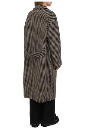 Женское шерстяное пальто ACNE STUDIOS коричневого цвета, арт. A90268   Фото 4 (Материал внешний: Шерсть; Рукава: Длинные; Длина (верхняя одежда): Длинные; 1-2-бортные: Однобортные; Материал подклада: Вискоза; Стили: Кэжуэл)