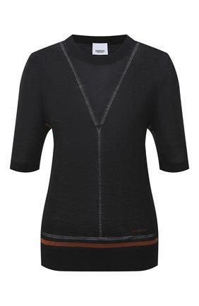 Женский пуловер из шерсти и шелка BURBERRY черного цвета, арт. 8036186 | Фото 1