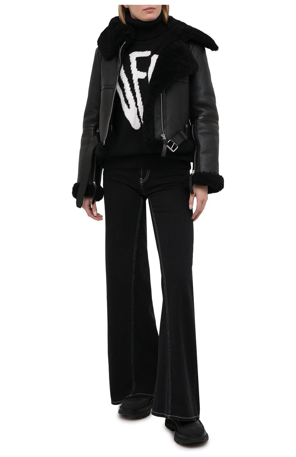 Женская дубленка ACNE STUDIOS черного цвета, арт. A70021   Фото 2