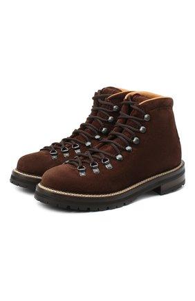 Женские замшевые ботинки RALPH LAUREN коричневого цвета, арт. 800838523 | Фото 1 (Материал утеплителя: Натуральный мех; Женское Кросс-КТ: Хайкеры-ботинки; Материал внутренний: Натуральная кожа; Подошва: Платформа; Каблук высота: Низкий; Материал внешний: Замша)