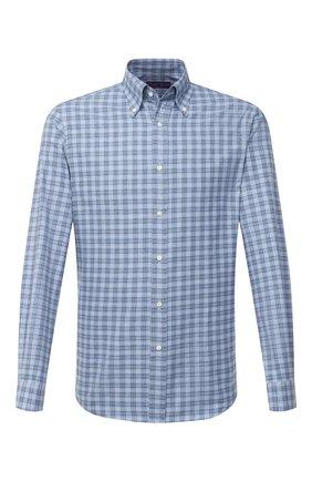 Мужская хлопковая рубашка RALPH LAUREN голубого цвета, арт. 790806118 | Фото 1