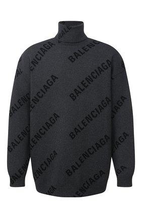 Мужской свитер из хлопка и шерсти BALENCIAGA серого цвета, арт. 641760/T3178   Фото 1