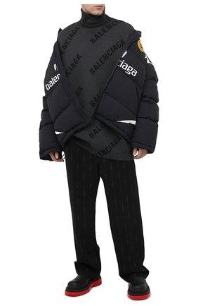 Мужской свитер из хлопка и шерсти BALENCIAGA серого цвета, арт. 641760/T3178   Фото 2