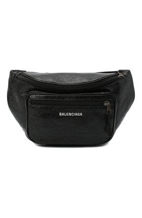 Мужская кожаная поясная сумка BALENCIAGA черного цвета, арт. 529550/1WG9X | Фото 1