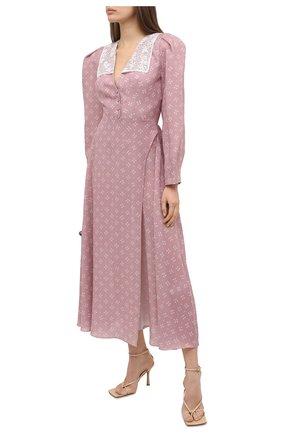 Женское шелковое платье ULYANA SERGEENKO сиреневого цвета, арт. ABM009FW20P (1246т20) | Фото 2