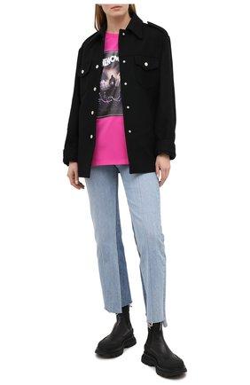 Женская хлопковая футболка MSGM фуксия цвета, арт. 2942MDM207 207998 | Фото 2