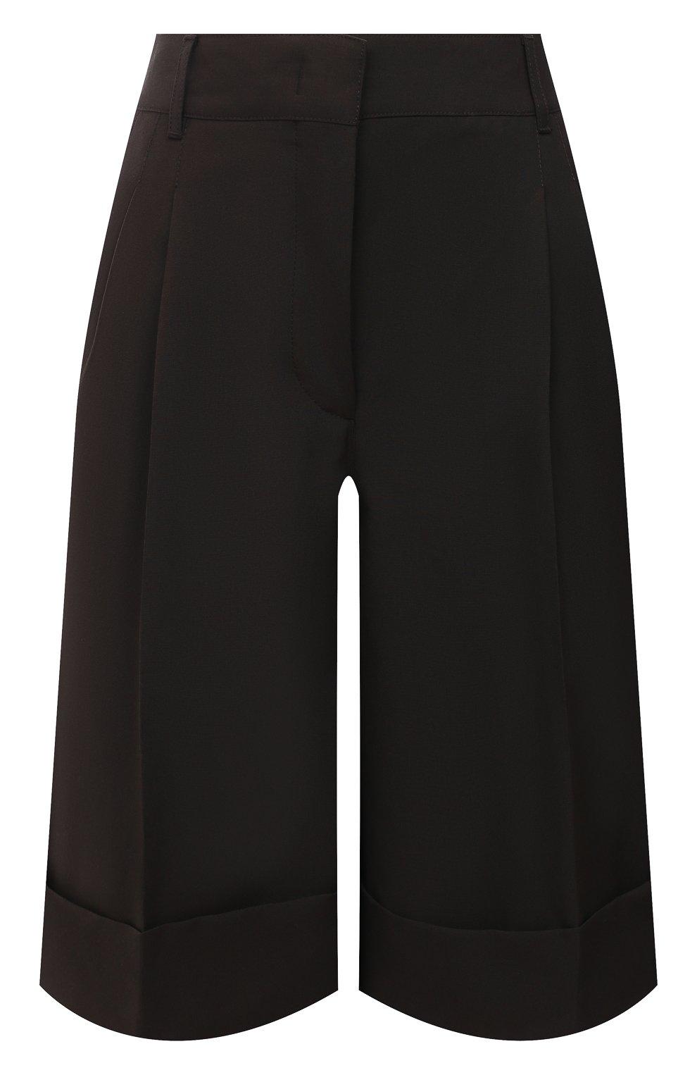 Женские шерстяные шорты CASASOLA коричневого цвета, арт. TRS-D-LUCA/W00L | Фото 1 (Женское Кросс-КТ: Шорты-одежда; Материал внешний: Шерсть; Кросс-КТ: Широкие; Длина Ж (юбки, платья, шорты): До колена; Стили: Кэжуэл)