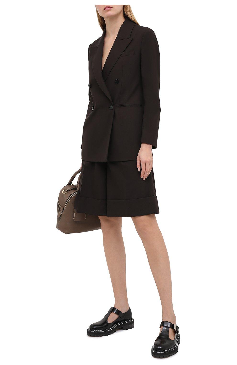 Женские шерстяные шорты CASASOLA коричневого цвета, арт. TRS-D-LUCA/W00L | Фото 2 (Женское Кросс-КТ: Шорты-одежда; Материал внешний: Шерсть; Кросс-КТ: Широкие; Длина Ж (юбки, платья, шорты): До колена; Стили: Кэжуэл)