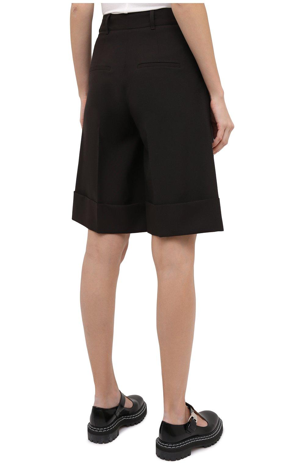 Женские шерстяные шорты CASASOLA коричневого цвета, арт. TRS-D-LUCA/W00L | Фото 4 (Женское Кросс-КТ: Шорты-одежда; Материал внешний: Шерсть; Кросс-КТ: Широкие; Длина Ж (юбки, платья, шорты): До колена; Стили: Кэжуэл)