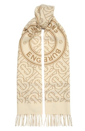 Мужские кашемировый шарф BURBERRY белого цвета, арт. 8033610 | Фото 1