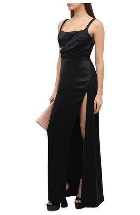 Женское шелковое платье BRANDON MAXWELL черного цвета, арт. GN189PF20 | Фото 2