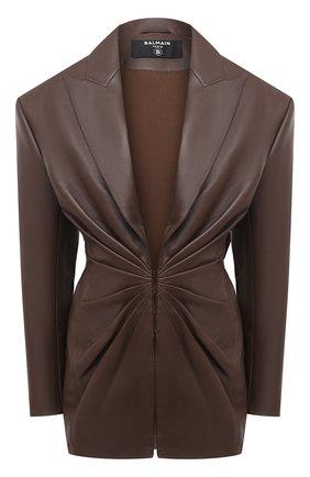 Женский кожаный жакет BALMAIN темно-коричневого цвета, арт. UF07763/L025 | Фото 1
