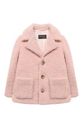 Детское укороченное пальто из шерсти LORO PIANA светло-розового цвета, арт. FAL2579 | Фото 1
