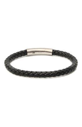 Мужской кожаный браслет TATEOSSIAN черного цвета, арт. BL7255 | Фото 2 (Материал: Кожа)