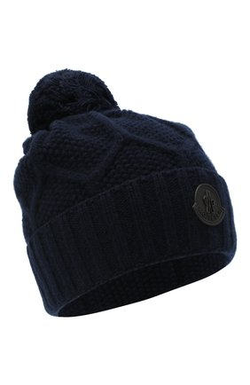 Мужская шерстяная шапка MONCLER темно-синего цвета, арт. F2-091-9Z732-00-A9540 | Фото 1