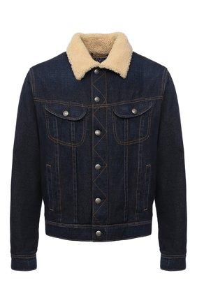 Мужская джинсовая куртка с меховой подкладкой RALPH LAUREN синего цвета, арт. 790813805 | Фото 1