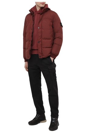 Мужской хлопковое худи STONE ISLAND бордового цвета, арт. 731564120 | Фото 2