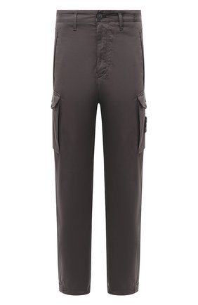 Мужской брюки-карго из хлопка и шерсти STONE ISLAND серого цвета, арт. 7315326F4 | Фото 1