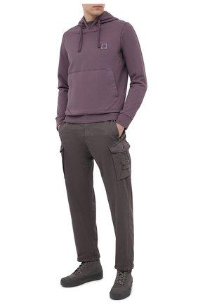 Мужской брюки-карго из хлопка и шерсти STONE ISLAND серого цвета, арт. 7315326F4 | Фото 2