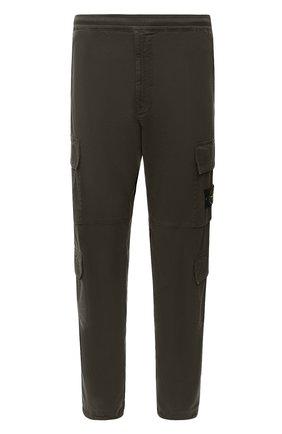 Мужской хлопковые брюки-карго STONE ISLAND зеленого цвета, арт. 731531710 | Фото 1