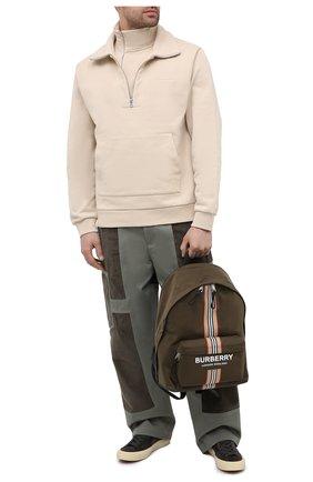 Мужской текстильный рюкзак BURBERRY хаки цвета, арт. 8035765 | Фото 2