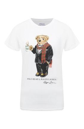 Женская хлопковая футболка POLO RALPH LAUREN белого цвета, арт. 211823687 | Фото 1