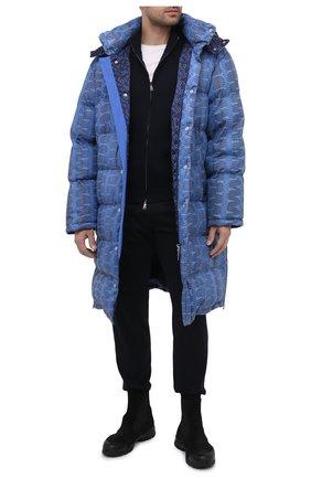 Мужская кожаный пуховик ZILLI SPORT синего цвета, арт. MAU-YD003-SDB00/0001 | Фото 2