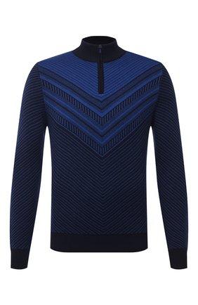 Мужской свитер из шерсти и шелка ZILLI SPORT синего цвета, арт. MBU-CZ603-FASH9/ML01 | Фото 1