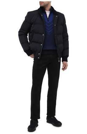 Мужской свитер из шерсти и шелка ZILLI SPORT синего цвета, арт. MBU-CZ603-FASH9/ML01 | Фото 2