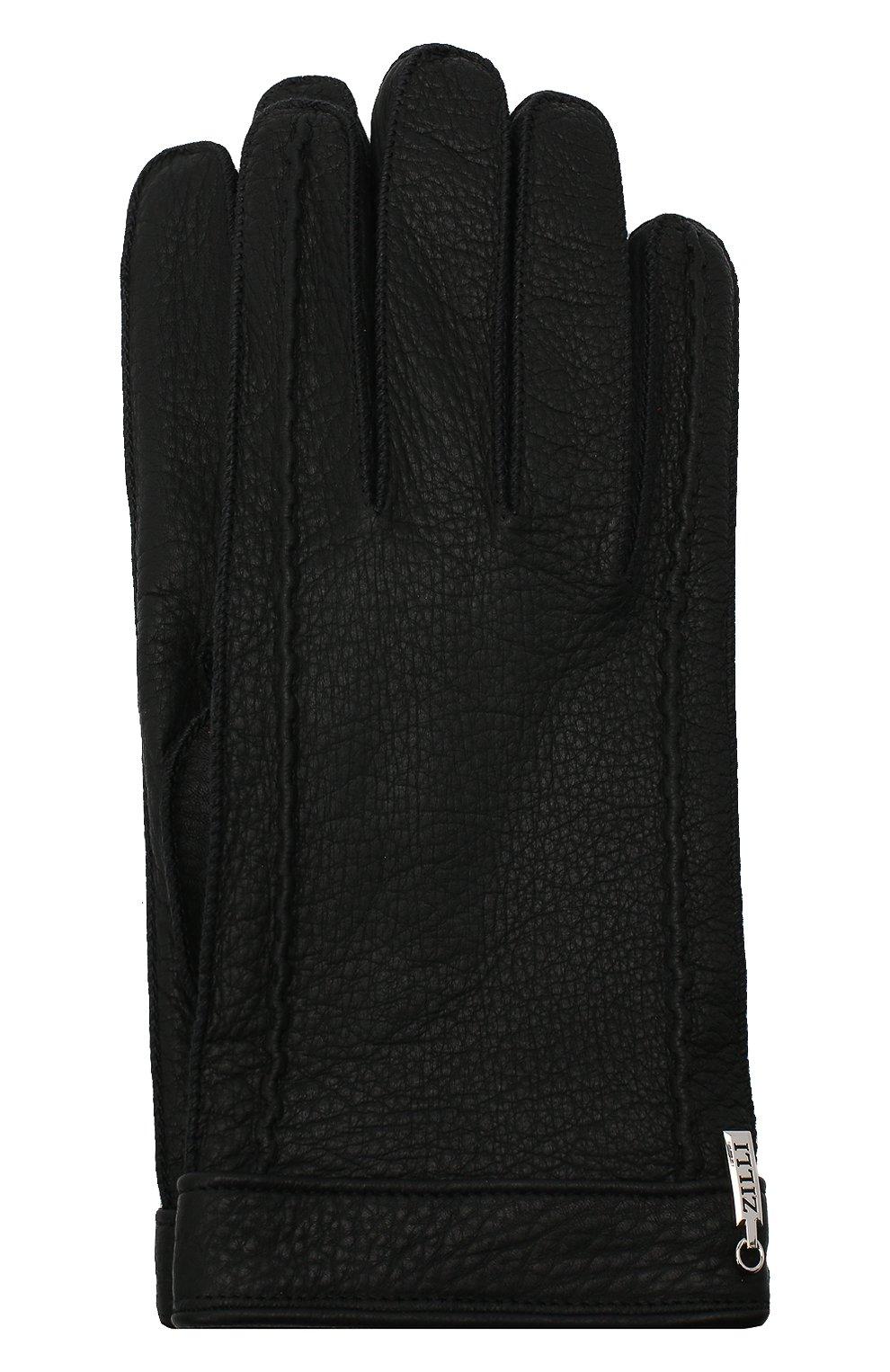 Мужские кожаные перчатки ZILLI черного цвета, арт. MIU-GA149-CERWS/0001   Фото 1