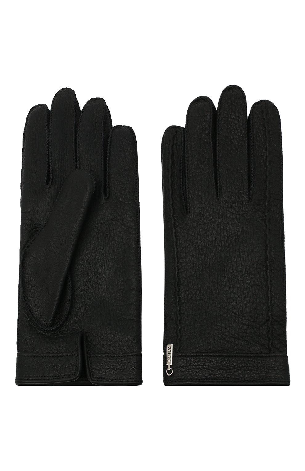 Мужские кожаные перчатки ZILLI черного цвета, арт. MIU-GA149-CERWS/0001   Фото 2